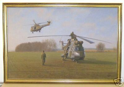 Geoffrey Lea   Geoff   Oil Painting Raf Puma Helicopter