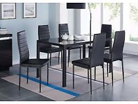 6 Chairs Dinner Kitchen Set Tempered Glass Top Padded