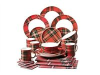 24-Piece Tartan Dinner Set Plates Mugs