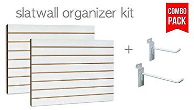 White Slatwall Panels Organizer Kit 2 24 X 48 Panels 30 Hooks 4 6-15 Ea