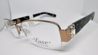 LUXE EYEGLASS FRAMES SWAROVSKI ELEMENTS LIGHT BROWN MARBLE WL0342 $124 (Luxe Frames)