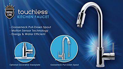 Royal Line Touchless Automatic Kitchen Faucet, Infrared Motion Sensor, Gooseneck Automatic Gooseneck Sensor Faucet