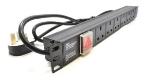 1U 6 Way 13A PDU 19 Inch Rack Switch Horizontal Mount Power Distribution Unit