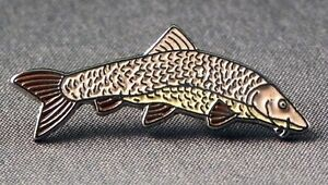 Metal Enamel Pin Badge Brooch Fish Barbel Fishing Angler Angling