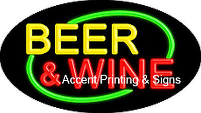 Beer Wine Handcrafted Real Glasstube Flashing Neon Sign