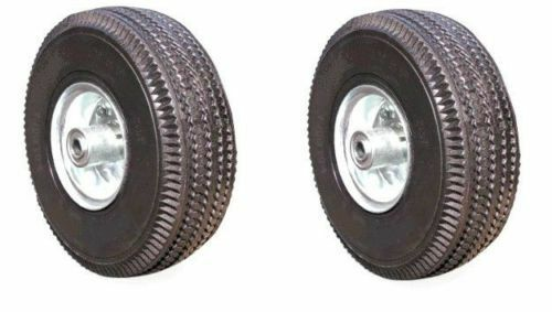 """Two New Pneumatic Hand Truck Air Tires 10"""" x 3-1/2"""" Wheel with 5/8"""" ID 4.10/3.50"""