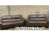 Brown Italian Leather sofa set 3+2 FREE Manchester delivery