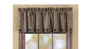 Primitive Country Black and Tan Check with Stars Lined Window Valance 72