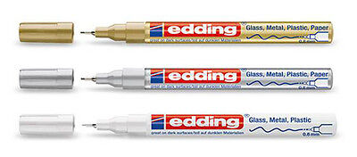 Edding 780 Lackstift - Glanzlack Marker - 0,8mm - gold/silber/weiß
