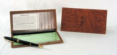 Anaheim Angels MLB Embossed TEAM LOGO Leather Checkbook Cover BRAND -