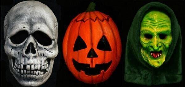 Halloween 3 Pumpkin, Witch And Skull Mask Set