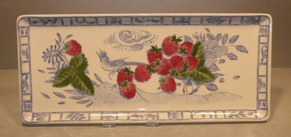 NEW Oblong Serving Tray with Fruits Oiseau Bleu Fruits Pattern Gien NEW