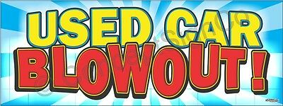 2x5 Used Car Blowout Banner Outdoor Indoor Sign Sale Clearance Auto Dealership