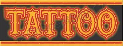 4x10 Tattoo Banner Xl Outdoor Sign Neon Look Tattoos Ink Piercings Shop Big