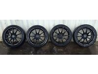 """4 x 17"""" Black alloy wheels with tyres"""