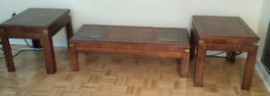 Rectangular Solid Wood Coffee Table + Matching End Tables
