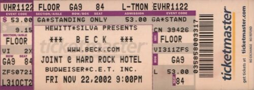 BECK 2002 SEA CHANGE TOUR UNUSED TICKET / THE PARADISE JOINT & HARD ROCK HOTEL