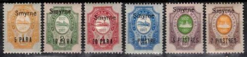 """Russia Offices in Turkey 1909, Sc 141-46, MNH, """"Smyrne."""""""