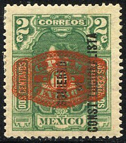 MEXICO #585 Mint w/MEPSI - 1916 15c 60c on 2c Green