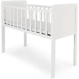 Slimline white crib with mattress