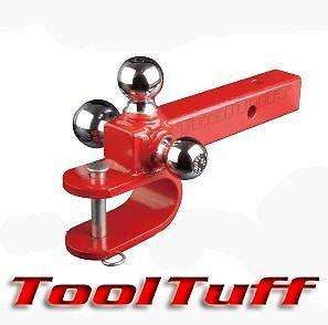 3 Way Tri-ball Trailer Hitch Ball Mount W/ U Clevis W/ Hitch Pin Solid Shank Atv