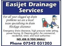 Easijet Drainage Services - Specialist Drain Blockage Clearance