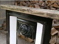 Lovely Heavy Metal Fire Surround With Tile Inserts and Heavy Pine Mantle