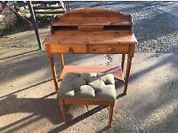 Pine desk & stool