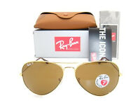 Brand new Ray-Ban Aviator RB 3025 001/57 arista in original leather sunglasses case