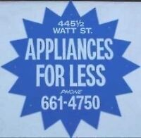 WE SELL APPLIANCES FOR LESS,