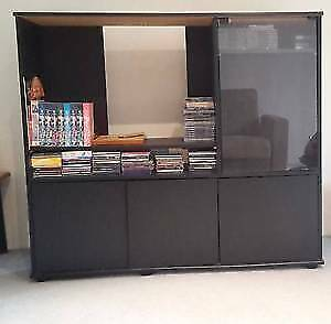 Black wooden unit suitable for stereo music system,CDs, books .. Chatswood Willoughby Area Preview
