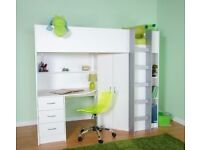 Single bed - high sleeper with built-in desk, wardrobe and drawers.