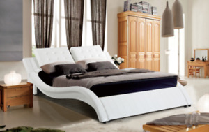 QUEEN OR KING SIZE PINTO WHITE BONDED SLEIGH LEATHER BED