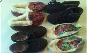 four pairs of size six footwear
