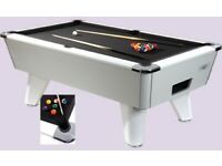 WHITE SUPREME POOL TABLES 7 BY 4 ALL COLOUR CLOTHS