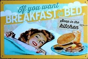 "Retro Style ""Breakfast In Bed...."" Wall Art Tin Sign"