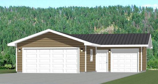 34x36 3-Car Garage -- 1,000 sq ft -- PDF Floor Plans -- Model 1A