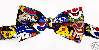 SHRINER CLOWN BOW TIE - ADJUSTABLE BAND - CLOWN FACES on BLACK POLY FABRIC - NEW](Clown Bows)