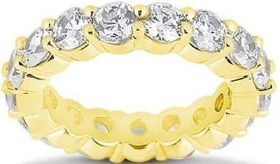 4.8 ct Round Diamond Eternity Ring 14K Yellow Gold Band GIA E-F 16 x .30 ct sz 7