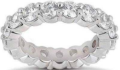 5.1 ct Round Diamond Eternity Ring 14K Gold Band GIA E-F VVS 17 x 0.30 ct size 8