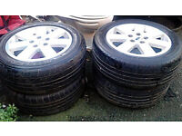 """SET OF 4 FORD GALAXY 16"""" ALLOYS WITH 215/55 SR TYRES IN GOOD CONDITION"""