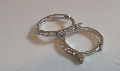 925 STERLING SILVER HUGGIE EARRINGS W/ .25 CT DIAMOND