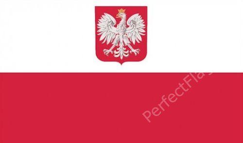 POLAND STATE CREST FLAG - POLISH NATIONAL FLAGS - Hand, 3x2, 5x3, 8x5 Feet