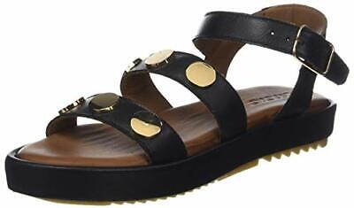 Inuovo Women's 9000 Black Leather Gold Disc Flat Sandals Size UK 7 EU 40