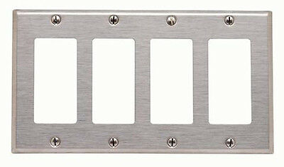 (1 pc NEW 4-Gang Decorator Brushed Stainless Steel Wall Plate Decora Wallplate)