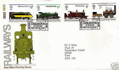 13 AUGUST 1975 RAILWAYS POST OFFICE FIRST DAY COVER SHILDON TICKET SHS