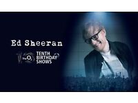 Ed Sheeran 22nd June 02 Arena tickets 10th Birthday Seated tickets