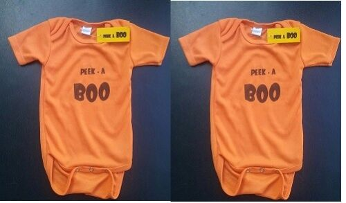 HALLOWEEN ORANGE BABY TEE SHIRTS SNAP ON ONEZIE 6-9M LOT 2 INFANT 100% COTTON !