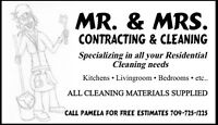 Mr. & Mrs. Contracting And Cleaning