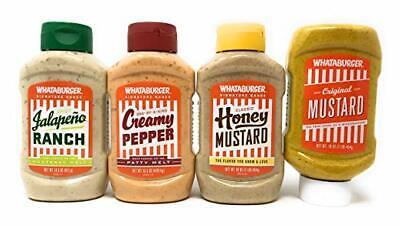 WHATABURGER Sauce Bundle ( Mustard, Honey Mustard,Creamy Pepper, & Jalapeno -